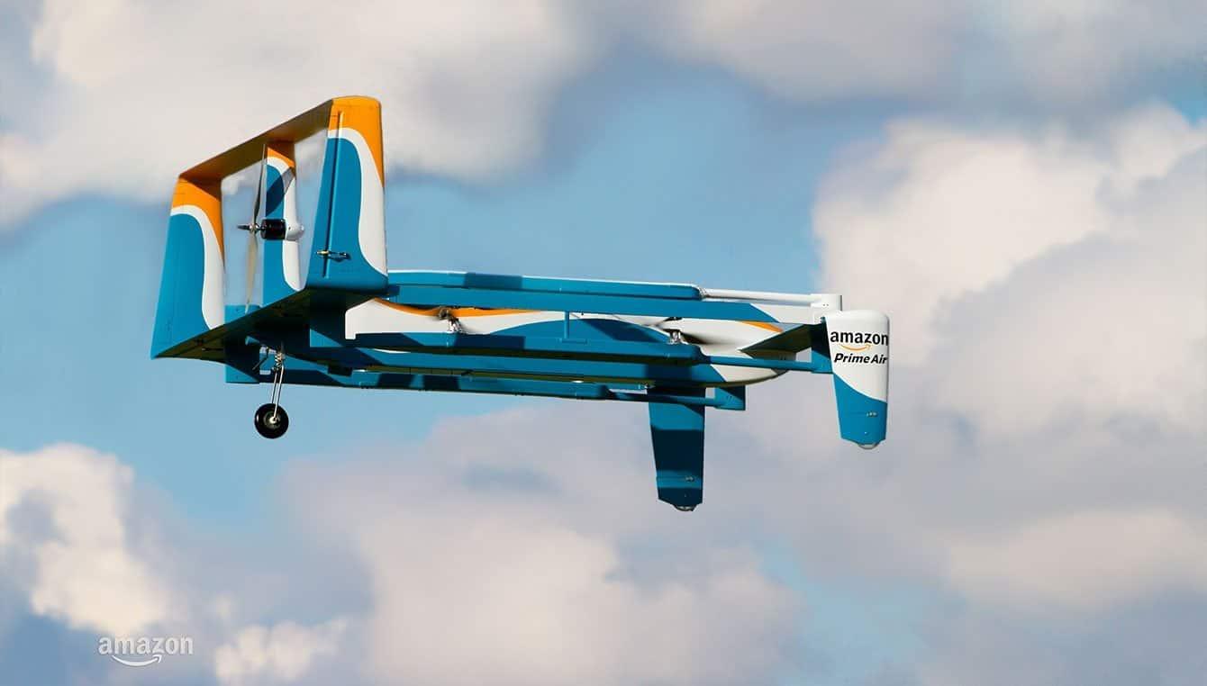 consegne con droni, droni amazon, etichetta spedizioni droni amazon,