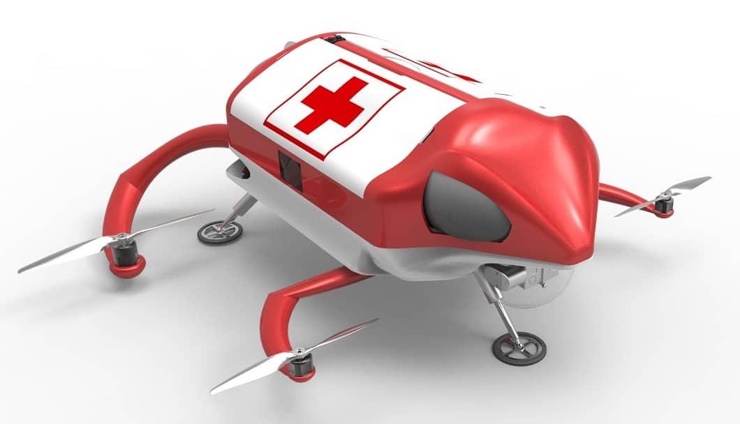 Drone per il soccorso medico, drone defibrillatore,