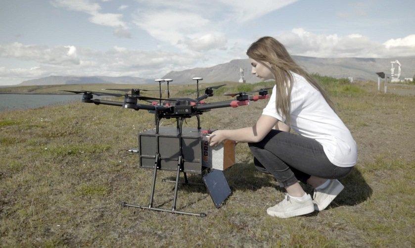 Drone per consegnare prodotti alimentari in Islanda