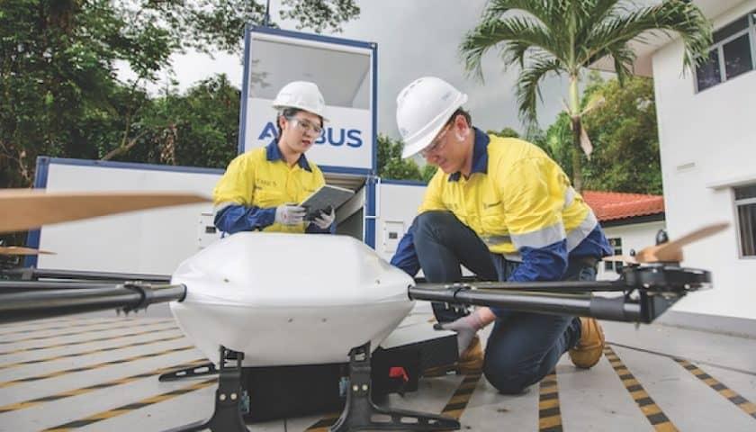 Droni Airbus al porto di Singapore
