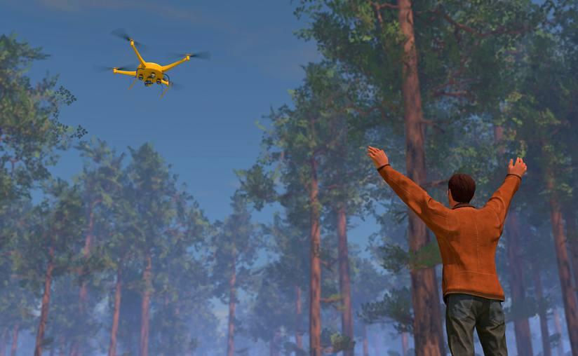 Droni che aiutano i soccorritori