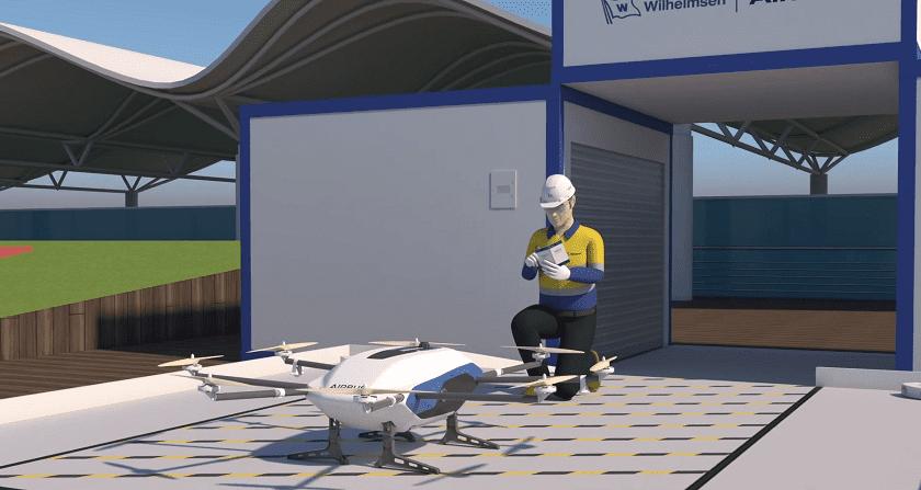 Droni che consegnano merci nei porti